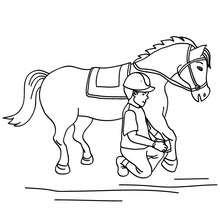 Dibujo para colorear : la limpieza del caballo