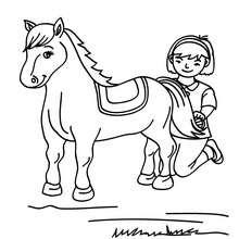 Dibujo de una niña cepillando a su poni - Dibujos para Colorear y Pintar - Dibujos para colorear DEPORTES - Dibujos de EQUITACION para colorear - Dibujos para pintar CENTRO ECUESTRE
