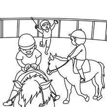 Dibujo de una clase de equitación para niños - Dibujos para Colorear y Pintar - Dibujos para colorear DEPORTES - Dibujos de EQUITACION para colorear - Dibujos de HIPICA para pintar