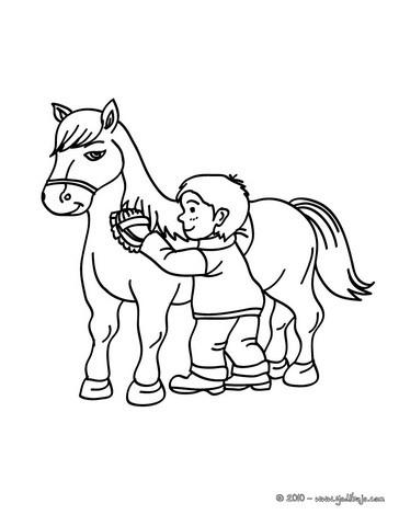 Dibujo para colorear : un niño cepillando a su caballo