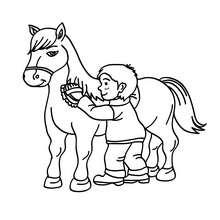 Dibujo de un niño cepillando a su caballo - Dibujos para Colorear y Pintar - Dibujos para colorear DEPORTES - Dibujos de EQUITACION para colorear - Dibujos para pintar CENTRO ECUESTRE