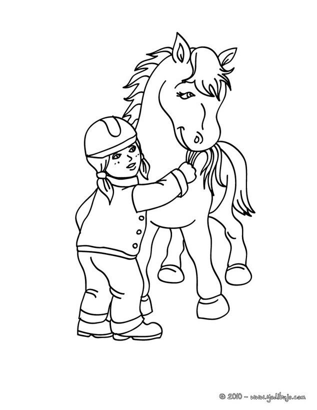 Dibujo para colorear : un niño cuidando de su poni