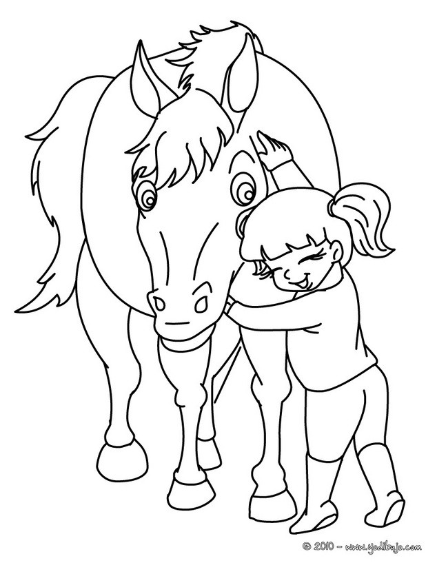 Dibujos Para Colorear Una Ni 241 A Dando Caricias Al Caballo