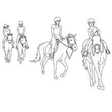 Dibujo de un paseo a caballo - Dibujos para Colorear y Pintar - Dibujos para colorear DEPORTES - Dibujos de EQUITACION para colorear - Dibujos de HIPICA para pintar