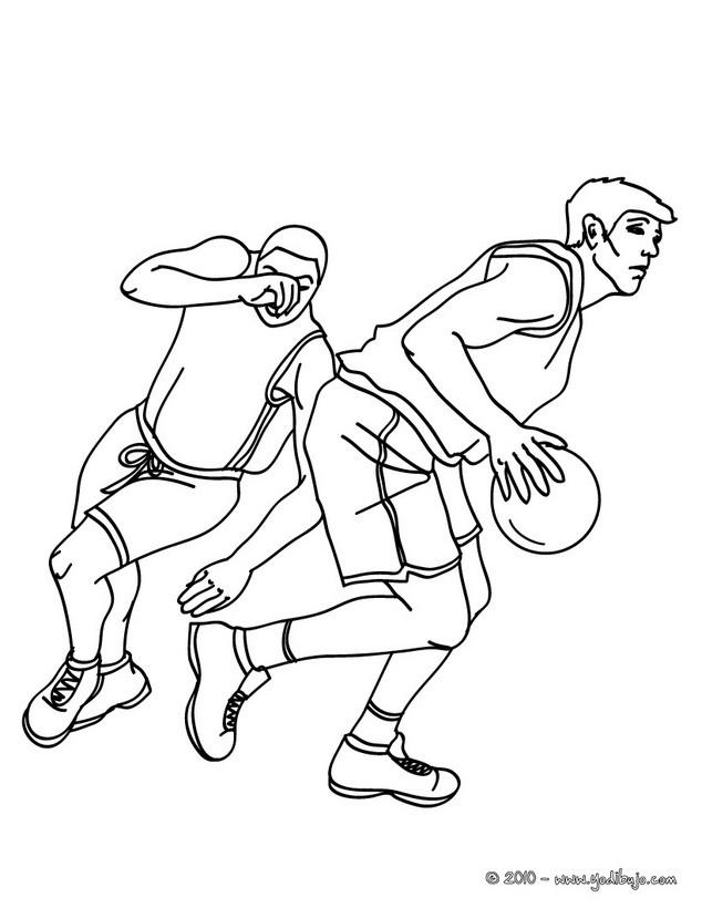 Dibujo para colorear : jugadores desplazandose por la cancha de BALONCESTO