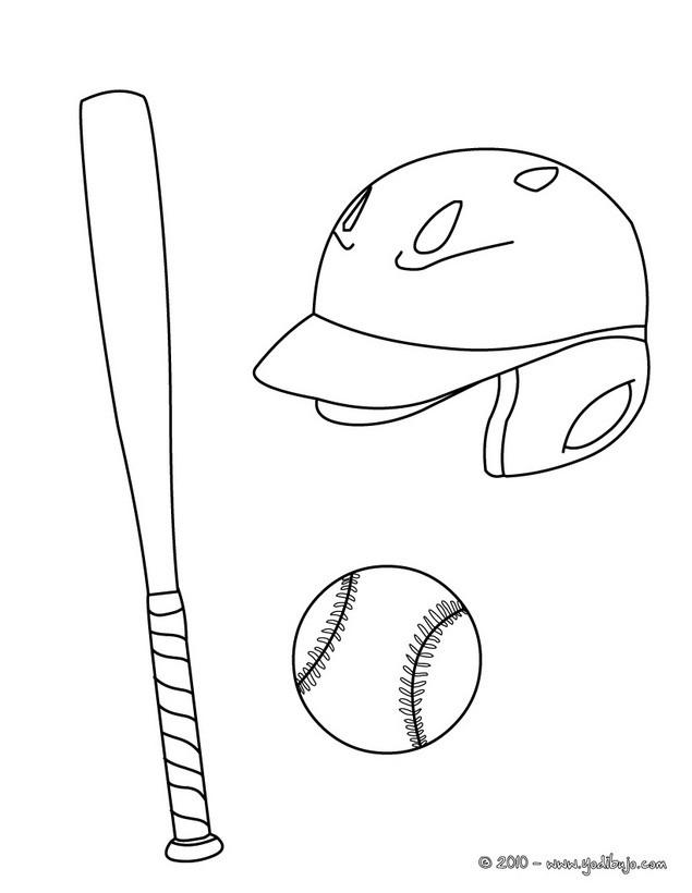 Dibujo para colorear : bate con casco y pelota de baseball