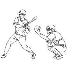 Dibujo de bateador y receptor de beisbol - Dibujos para Colorear y Pintar - Dibujos para colorear DEPORTES - Dibujos de BEISBOL para colorear - Dibujos de PARTIDO DE BEISBOL para colorear