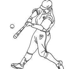 Dibujo del bateador que batea la pelota - Dibujos para Colorear y Pintar - Dibujos para colorear DEPORTES - Dibujos de BEISBOL para colorear - Dibujos de BATEADOR para colorear