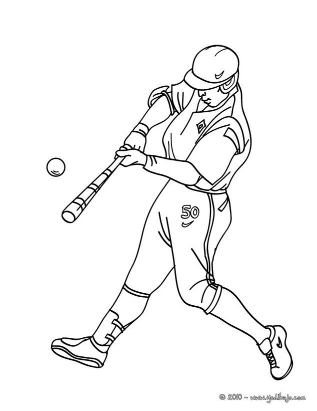 Dibujo para colorear : bateador que batea la pelota