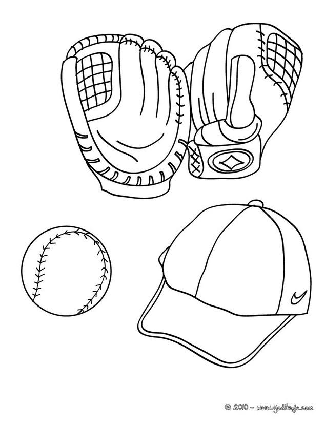 Dibujos para colorear guantes, pelota y gorra de baseball - es ...