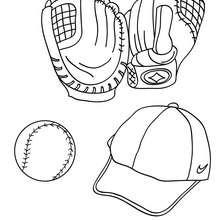 Dibujo de guantes, pelota y gorra de baseball - Dibujos para Colorear y Pintar - Dibujos para colorear DEPORTES - Dibujos de BEISBOL para colorear - Dibujos de BASEBALL para colorear