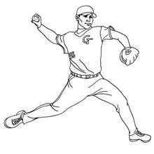 Dibujo del lanzador relevista de beisbol - Dibujos para Colorear y Pintar - Dibujos para colorear DEPORTES - Dibujos de BEISBOL para colorear - Dibujo del LANZADOR de baseball