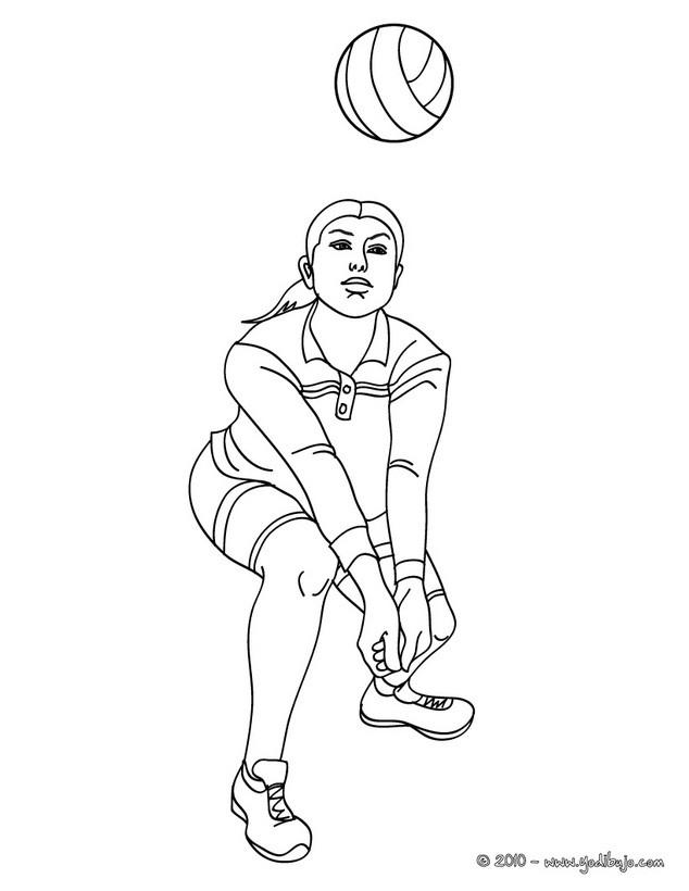 Dibujo Para Colorear   Un Pase Bajo De Voleibol