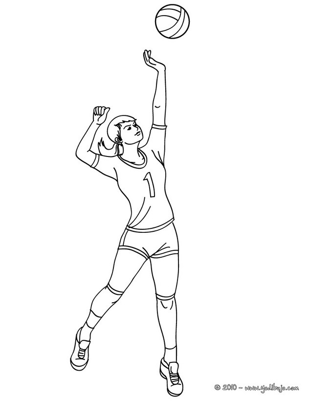 Dibujos para colorear un saque en salto - es.hellokids.com