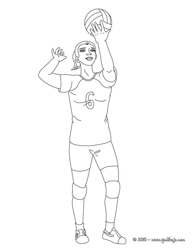Dibujo para colorear : un saque de voleibol