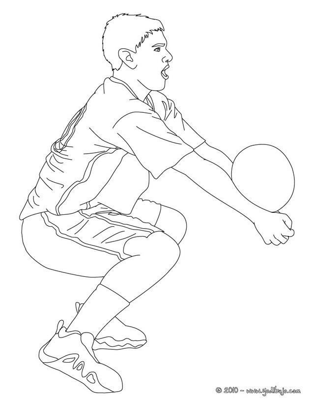 Dibujo para colorear : una recepcion de balon bajo