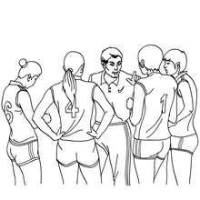Dibujo para colorear : un entrenador con su equipo de voleibol