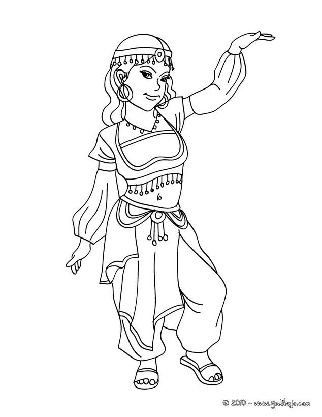 Dibujo para colorear : Princesa del Medio Oriente