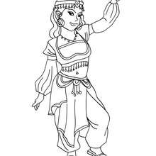 Dibujo de princesa arabe para colorear - Dibujos para Colorear y Pintar - Dibujos de PRINCESAS para colorear - Dibujos para colorear PRINCESA ARABE
