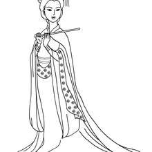 Dibujo de princesa china para colorear - Dibujos para Colorear y Pintar - Dibujos de PRINCESAS para colorear - Dibujos para colorear PRINCESA CHINA