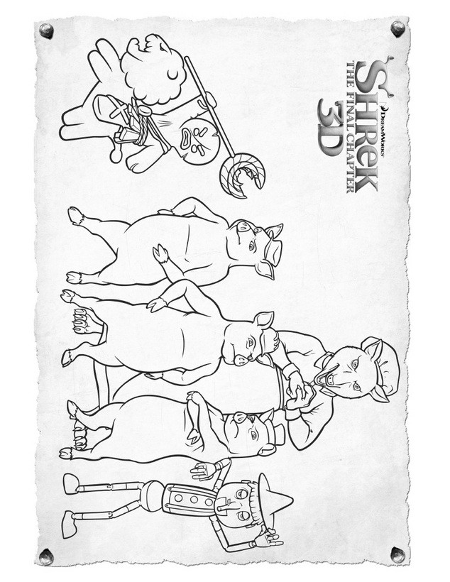 Dibujos para colorear amigos de shrek - es.hellokids.com