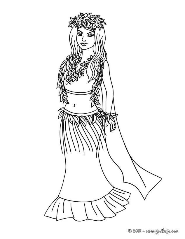 Dibujo para colorear : Princesa de Hawaii
