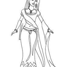 Dibujo de princesa india para colorear - Dibujos para Colorear y Pintar - Dibujos de PRINCESAS para colorear - Dibujos para colorear PRINCESA INDIA