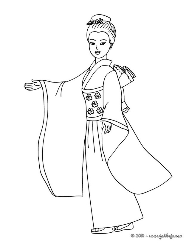Dibujo para colorear : Princesa Nipona