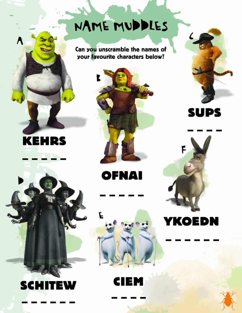 Juego de Shrek para jugar con las letras