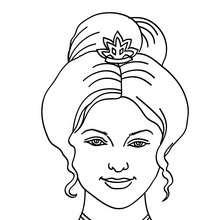 Dibujo de princesa con moño rizado para colorear - Dibujos para Colorear y Pintar - Dibujos de PRINCESAS para colorear - Dibujos para colorear RETRATO DE PRINCESA
