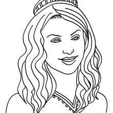 Dibujo de princesa con melena rizada - Dibujos para Colorear y Pintar - Dibujos de PRINCESAS para colorear - Dibujos para colorear RETRATO DE PRINCESA