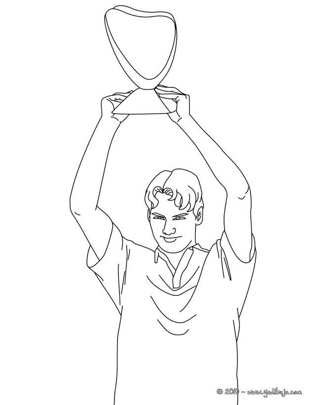 Dibujo Para Colorear   Un Jugador De Tenis Con Su Copa