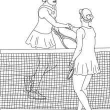 Dibujo para colorear : un estrecho de mano entre jugadoras de tenis