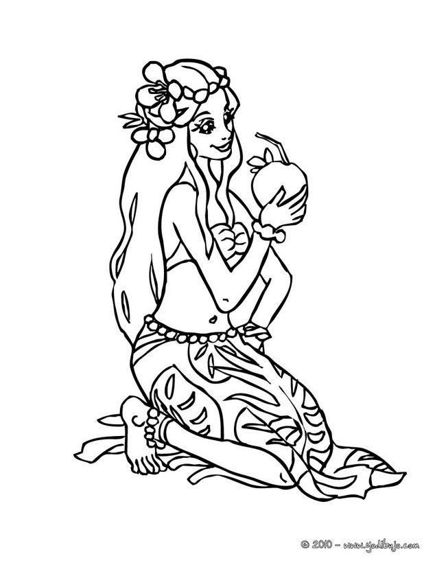 Dibujos para colorear princesa hawaiana  eshellokidscom