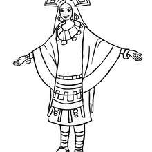 Dibujo de princesa Inca para colorear - Dibujos para Colorear y Pintar - Dibujos de PRINCESAS para colorear - Dibujos para colorear PRINCESA INCA