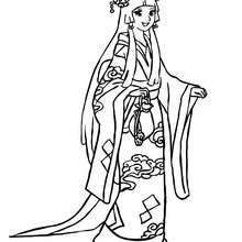 Dibujo  para colorear princesa japonesa - Dibujos para Colorear y Pintar - Dibujos de PRINCESAS para colorear - Dibujos de PRINCESA JAPONESA para colorear