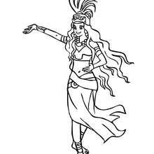 Dibujo de princesa maya para colorear - Dibujos para Colorear y Pintar - Dibujos de PRINCESAS para colorear - Dibujos para colorear PRINCESA MAYA