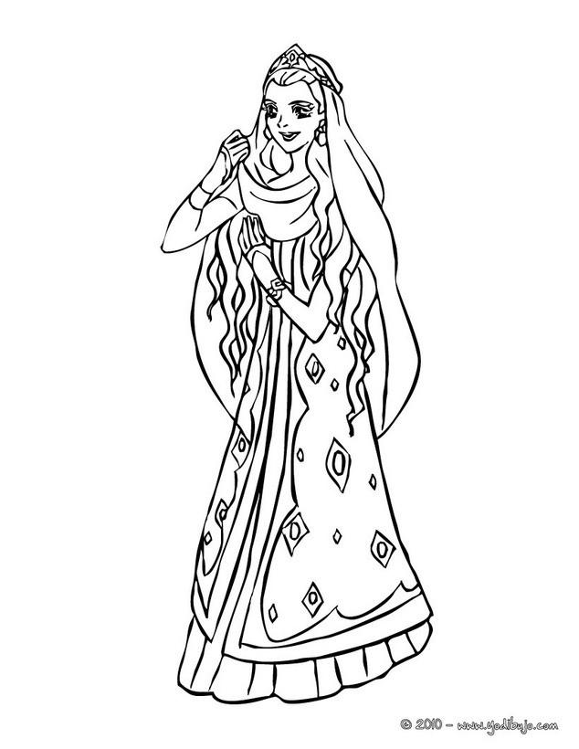 Dibujos para colorear princesa amazona con su jaguar - es.hellokids.com