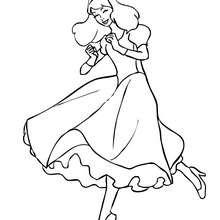 Dibujo de una princesa bailando en vestido de princesa para colorear - Dibujos para Colorear y Pintar - Dibujos de PRINCESAS para colorear - Dibujos para pintar PRINCESAS