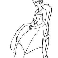 Dibujo de una princesa sentada con un hermoso vestido para colorear - Dibujos para Colorear y Pintar - Dibujos de PRINCESAS para colorear - Dibujos para pintar PRINCESAS