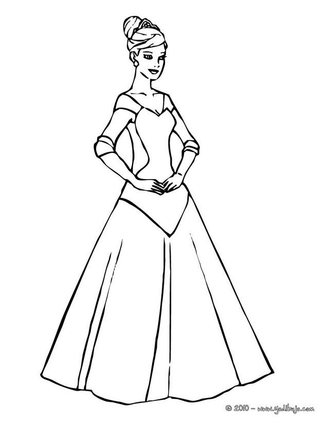 Dibujos para colorear lujoso vestido de princesa  eshellokidscom