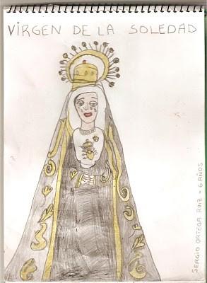 Dibujo de la virgen de la Soledad (Sergio 6 años)