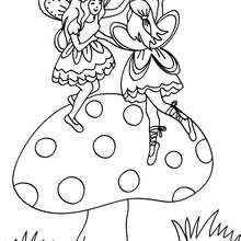 Dibujo para colorear hadas jugando en una seta - Dibujos para Colorear y Pintar - Dibujos para colorear de FANTASIA - Dibujos para colorear HADAS - Dibujos para colorear GRUPOS DE HADAS