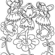 Dibujo para colorear hadas bailando - Dibujos para Colorear y Pintar - Dibujos para colorear de FANTASIA - Dibujos para colorear HADAS - Dibujos para colorear GRUPOS DE HADAS