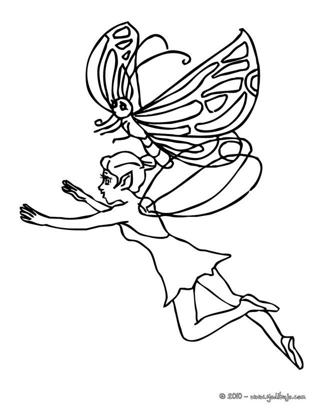 Dibujos para colorear elfo y mariposa - es.hellokids.com
