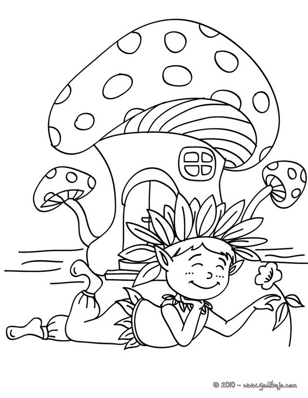 Dibujos para colorear un elfo con su casa seta - es.hellokids.com