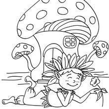 Dibujo para colorear : un elfo con su casa seta