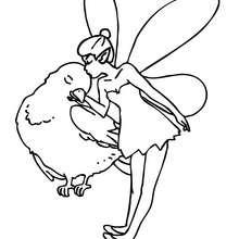 Dibujo para colorear : un elfo besando un pajaro