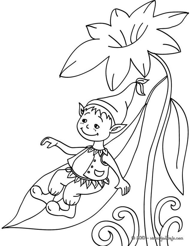 Dibujos para colorear un elfo resbalando en una hoja   es
