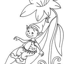 Dibujo para colorear un elfo resbalando en una hoja - Dibujos para Colorear y Pintar - Dibujos para colorear de FANTASIA - Dibujos de ELFOS para colorear - Colorear ELFOS CHISTOSOS